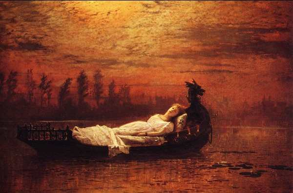 'The broad stream bore her far away'.  - Painting by John Grimshaw